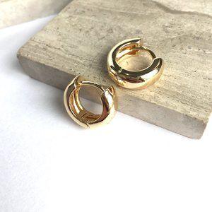 NEW~ Anthropologie Anita Huggie Hoop Gold Earrings